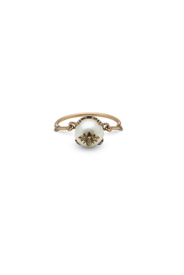 Christian Dior - Faux Pearl Bee Ring - Size 7