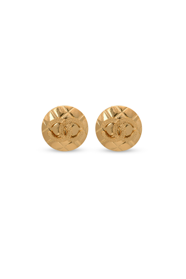 Chanel - Quilted Motif Textured CC Clip On Earrings