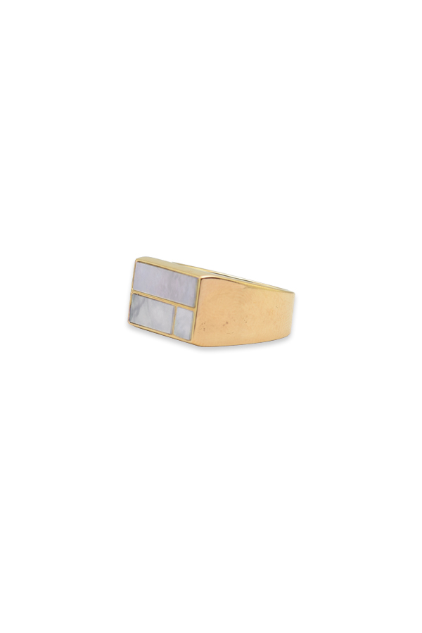 Aurelie Bidermann - Bianca Mother Of Pearl Cocktail Ring   Size 7 View 2
