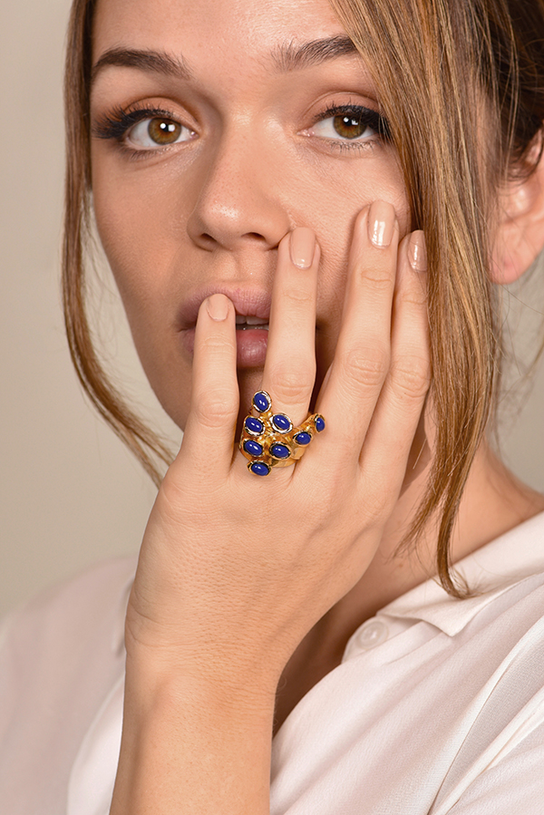 Yves Saint Laurent - Arty Dots Ring  Lapis Lazuli    Size 7 View 2