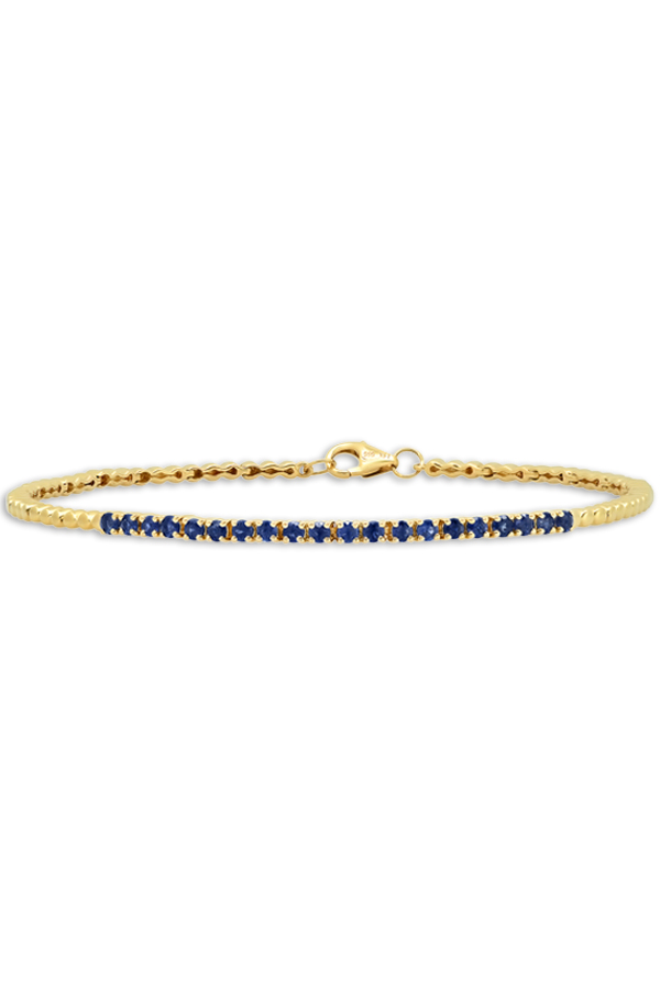 Do Not Disturb - The Toulouse Tennis Bracelet  14k Yellow Gold  amp  Blue Sapphire    S View 1