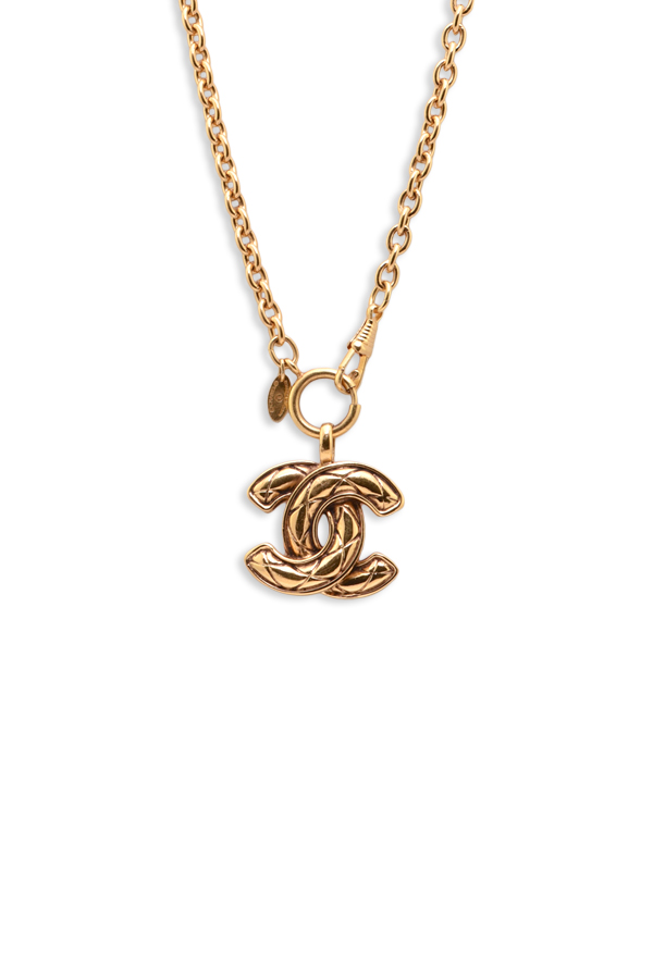 Chanel - Large Vintage Textured CC Logo Pendant Necklace (Gold)