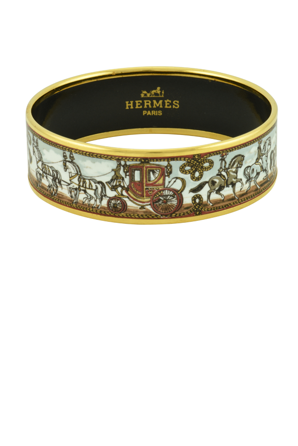 Hermes - Wide Brown Enamel Bangle (Horse and Carriage)