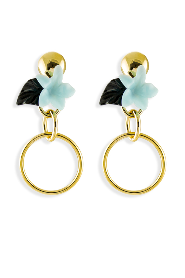 Lele Sadoughi - Golden Hibiscus Hoop Earrings