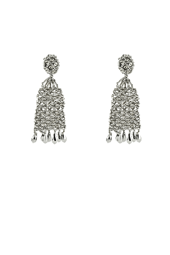 Oscar De La Renta - Beaded Short Tassel Earrings with Crystals View 1