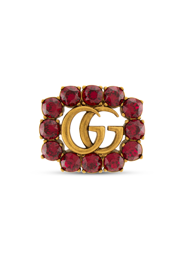 Gucci - Metal Double G Brooch With Red Crystals View 1