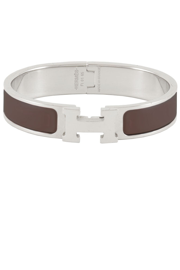 Hermes - Narrow Clic H Bracelet (Brown/Palladium Plated) - PM