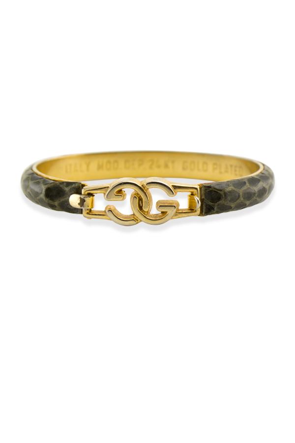 1cb2bf017 Gucci Vintage Snakeskin Bracelet (Textured Brown/Beige) | Rent Gucci ...