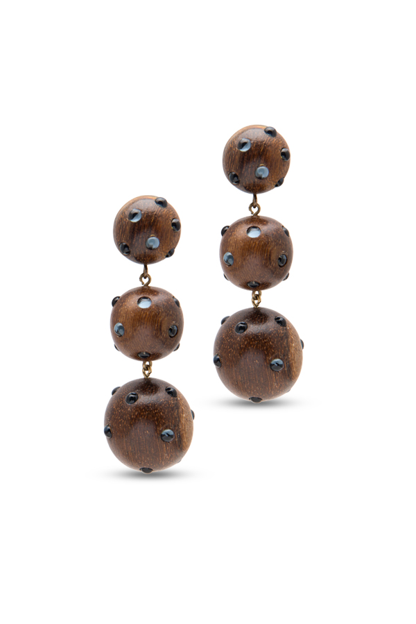 Rebecca De Ravenel - Classic Three Drop Dark Wood and Denim Earrings