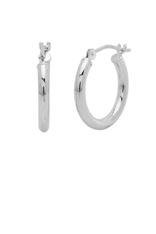 Yu  - Small Huggie Tube Hoop Earrings (14k White Gold)