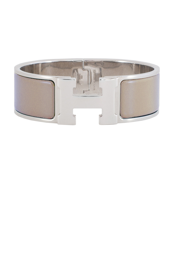Hermes - Wide Clic H Bracelet (Light Taupe/Palladium Plated) - PM