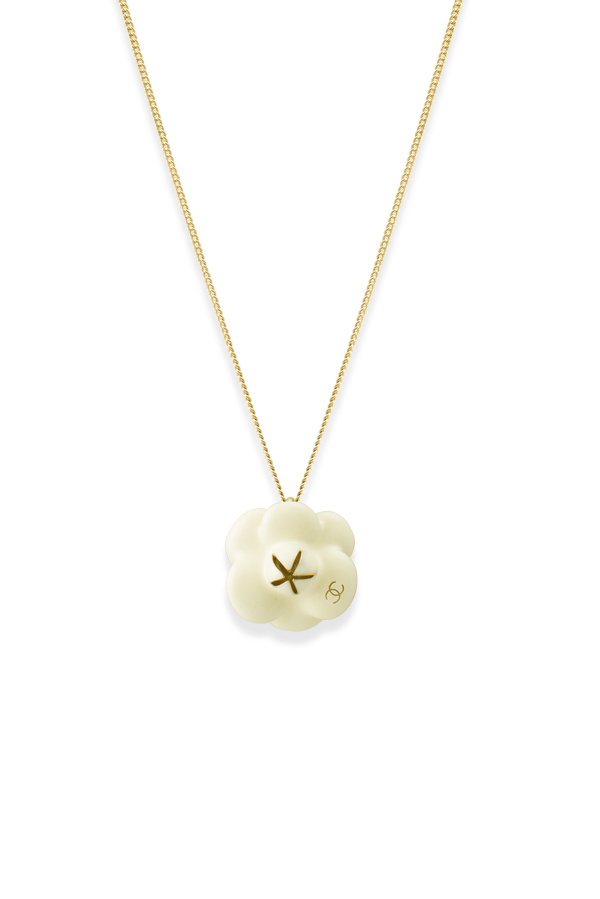Chanel - White Enamel Flower Pendant Necklace View 1