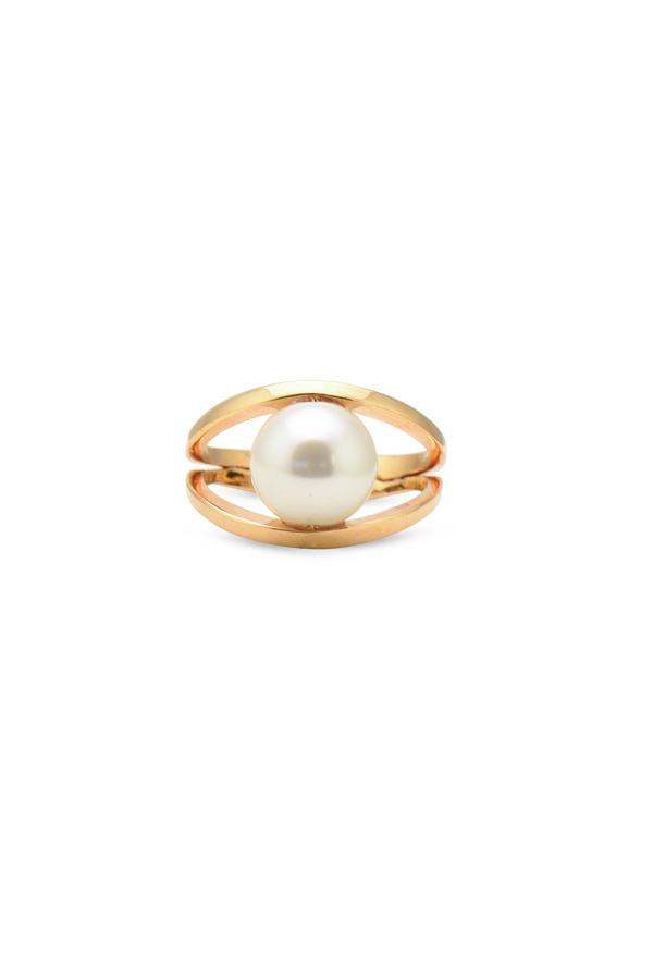 Lele Sadoughi - Faux Pearl Pebble Ring   Size 7 5 View 1