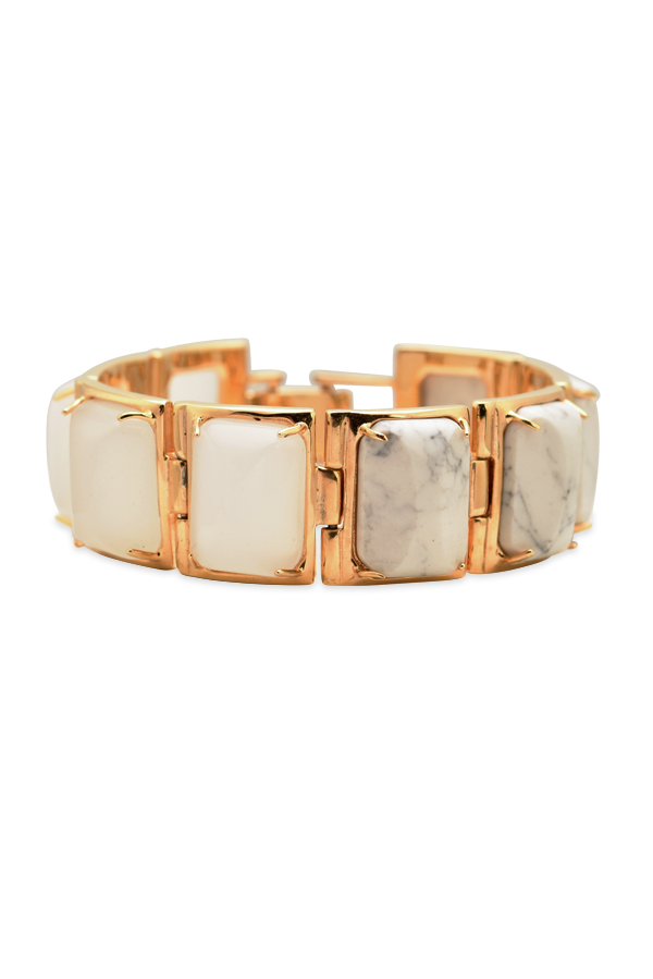 Lele Sadoughi - White and Marble Gold Link Bracelet