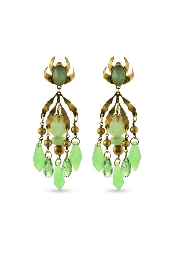 Gucci - Green Chandelier Clip On Earrings