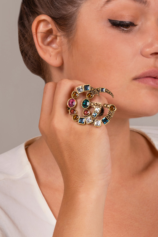 Gucci - Mutilocolor Double Finger Crystal Ring - Size 4.5/5