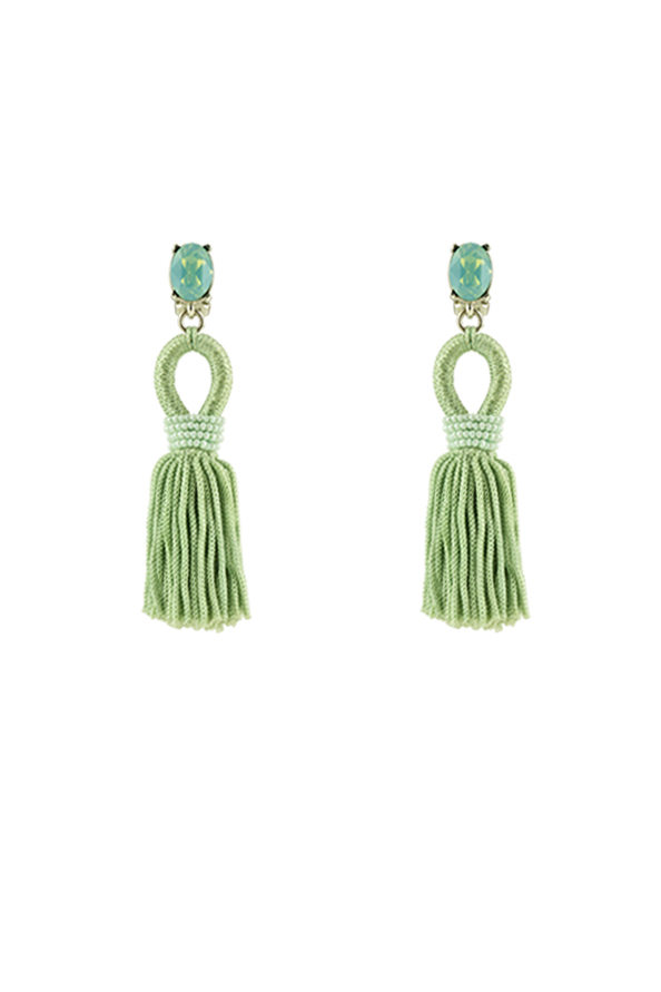 Oscar De La Renta - Short Silk Tassel Clip-On Earrings
