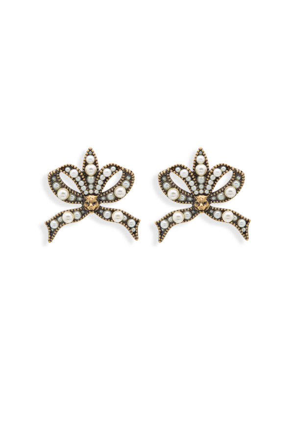 Gucci - 625171378_Switch Jewelry Gucci Feline And Faux Pearl Bow Earrings jpg