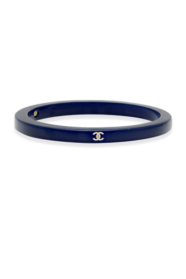Chanel - Navy Blue Resin Logo Bangle View 1