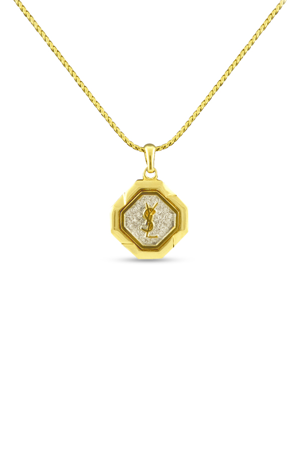 Yves Saint Laurent - Vintage Hexagon Logo Pendant Necklace