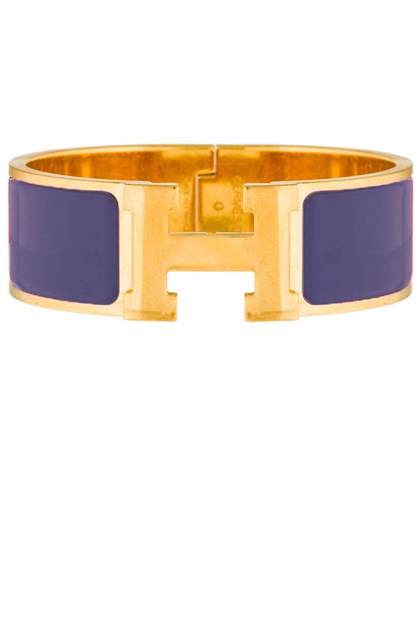 Hermes - Wide Clic Clac H Bracelet (Purple/Yellow Gold Plated) - GM