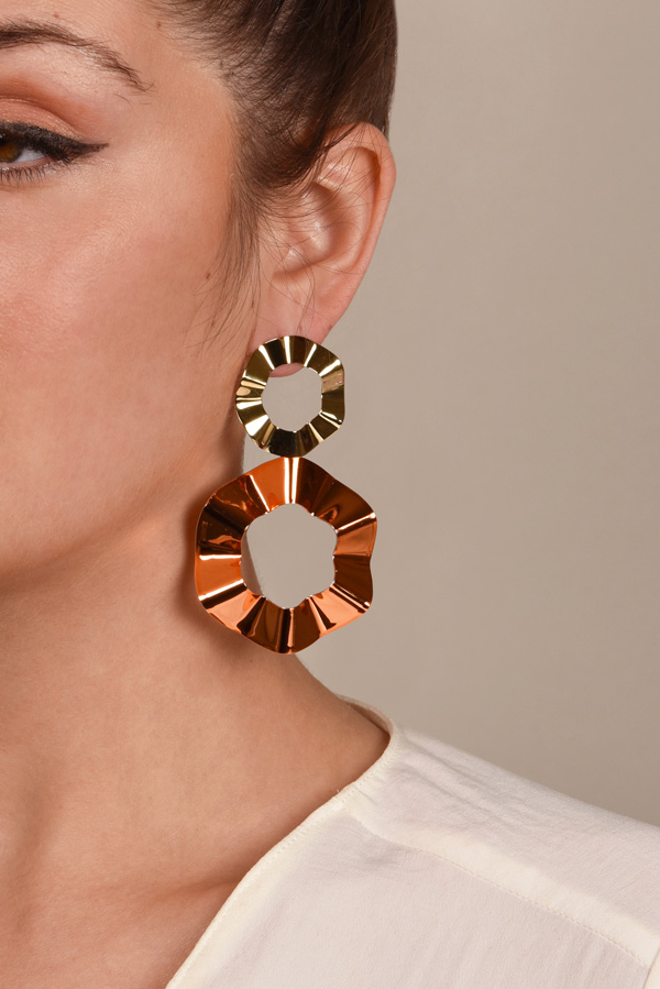 Gaviria - Double Ravioli Earrings (Orange/Gold)