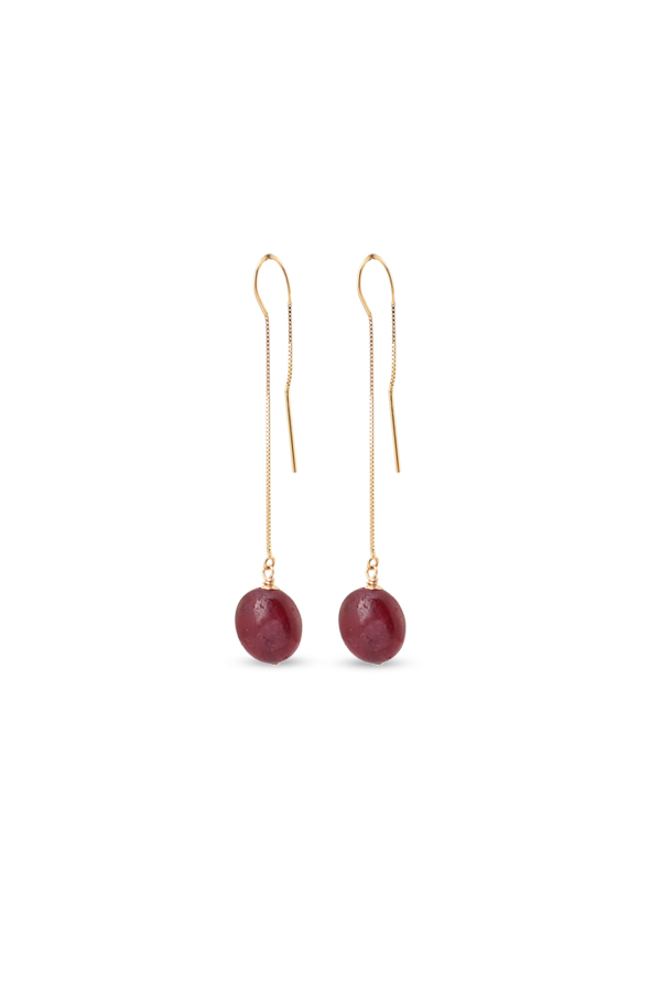 Chains and Pearls - 14k Gold and Ruby Dangle Earrings
