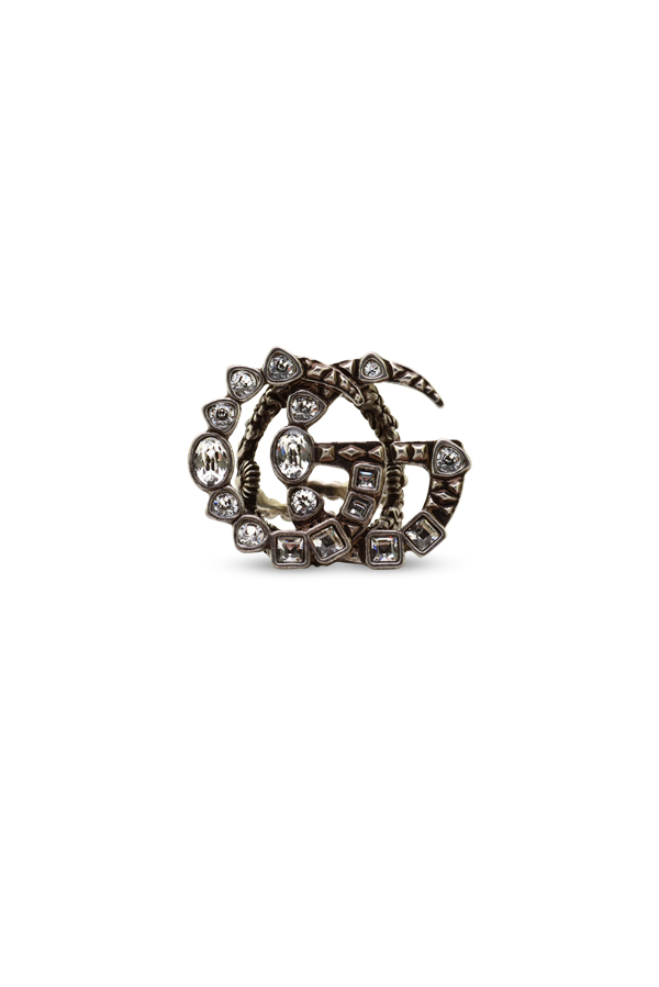 Gucci - Silver Double G Crystal Ring   Size 7 5 View 1