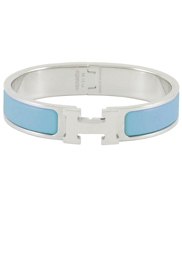 Hermes - Narrow Clic H Bracelet (Aqua Blue/Palladium Plated) - PM
