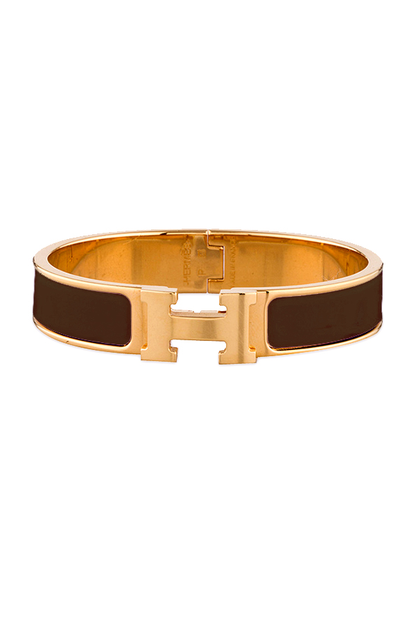 Hermes - Narrow Clic H Bracelet  Light Brown Yellow Gold Plated    PM View 1