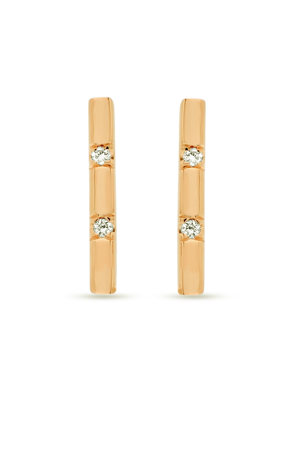 Switch - Simple Diamond Short Bar Studs  18k Yellow Gold  View 1