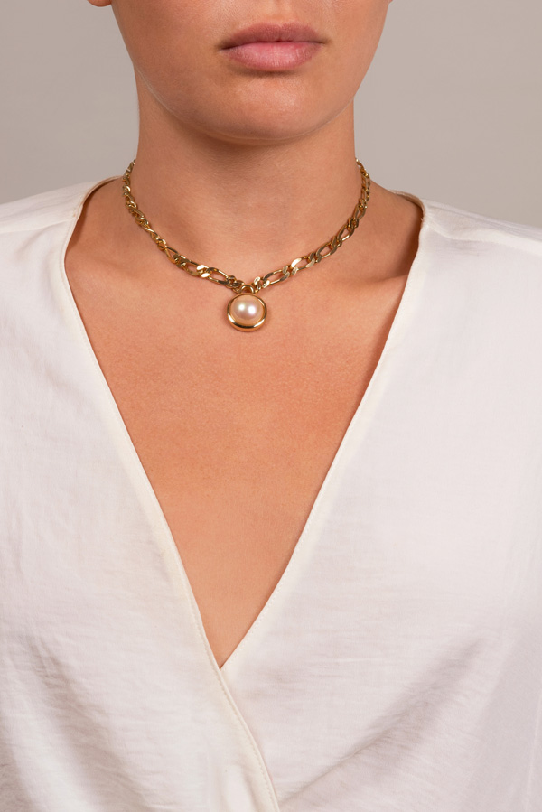 Christian Dior - Faux Pearl and Crystal Pendant Necklace