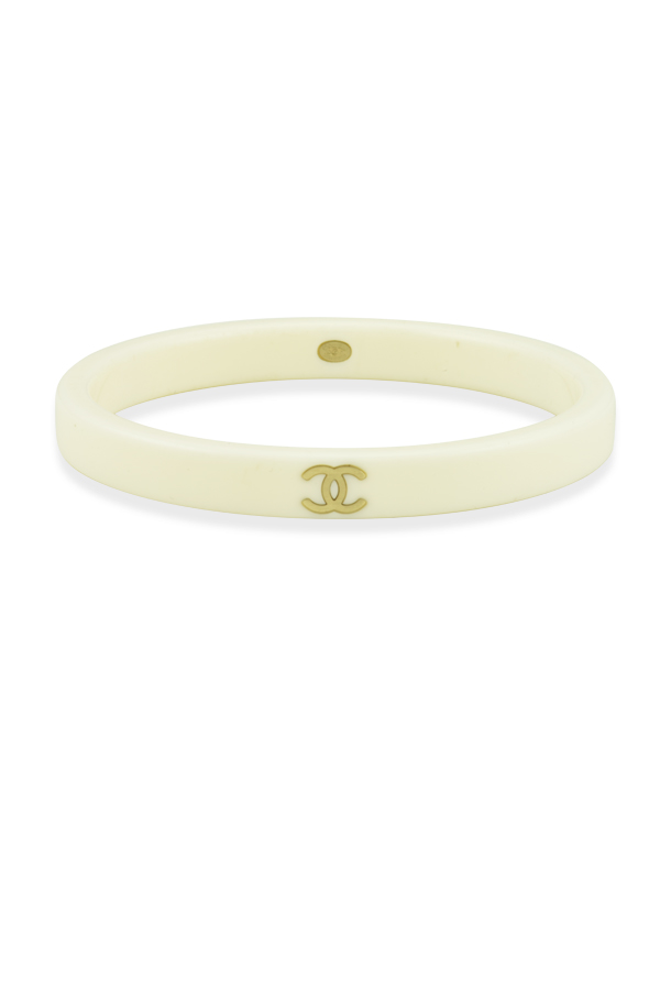 Chanel - White Resin Logo Bangle