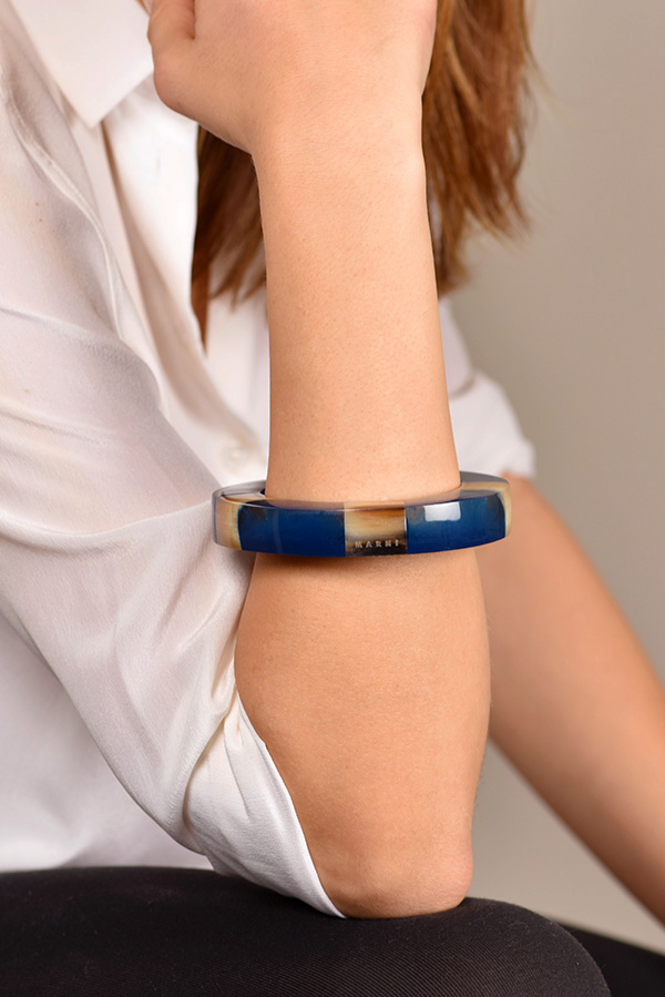 Marni - Blue Resin And Horn Bangle