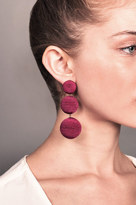 Rebecca De Ravenel - Classic Silk Corded Clip Earrings (Fuchsia)