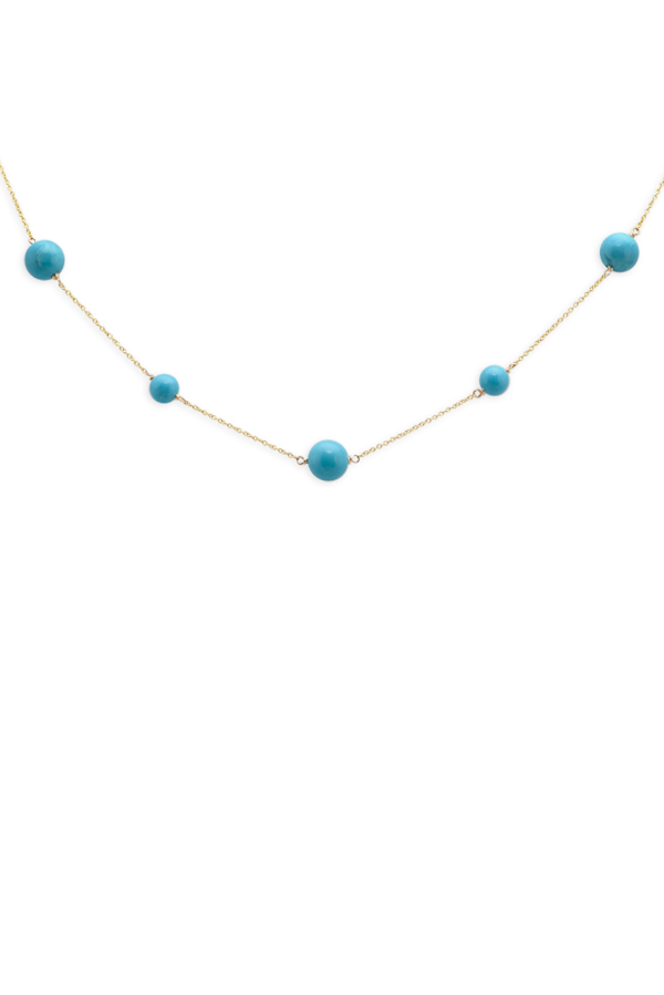 Chains and Pearls - Turquoise Station Necklace (14k Yellow Gold)