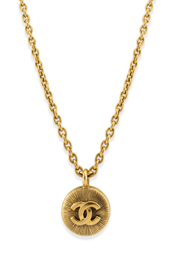 Chanel - Vintage Embossed CC Logo Pendant Long Chain Necklace