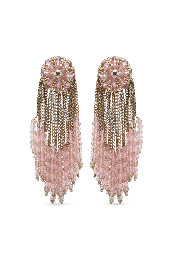 Oscar De La Renta - Pink Beaded Cluster Earrings  Pink Gold  View 1