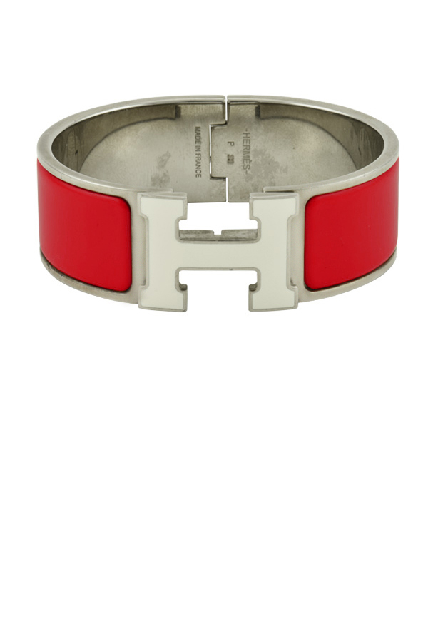 Hermes - Wide Clic H Bracelet (Red and White/Palladium Plated) - PM