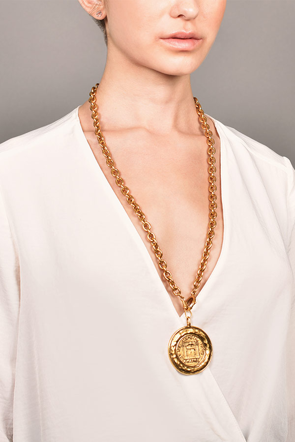 Chanel - Vintage 31 Rue Cambon Graphic Hammered Medallion on Long Link Chain
