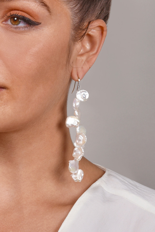 Chains and Pearls - Long Petal Pearl Earrings