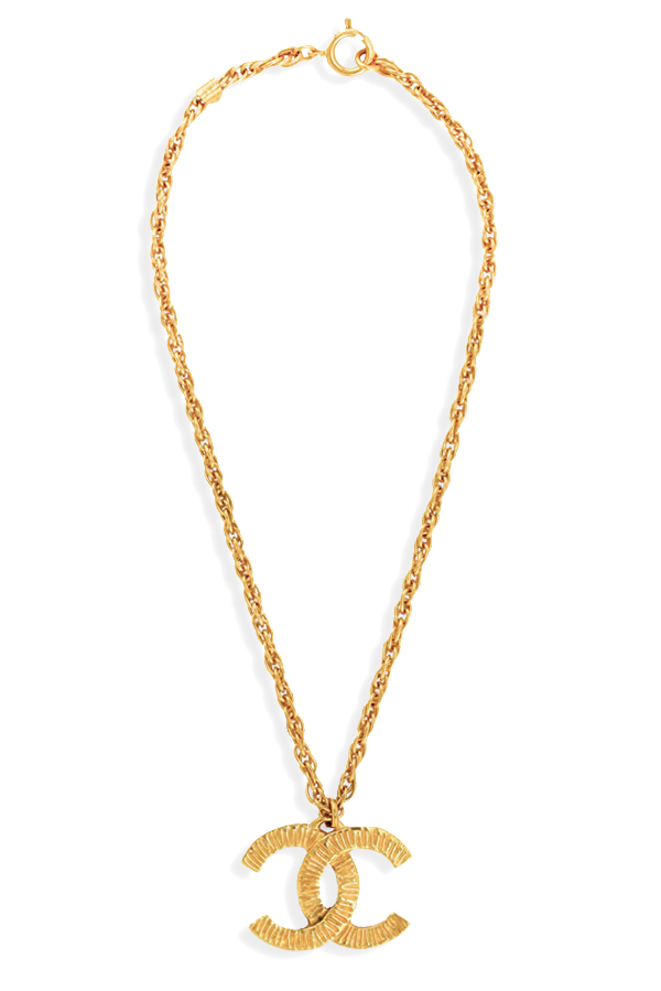 Chanel - CC Textured Pendant Necklace