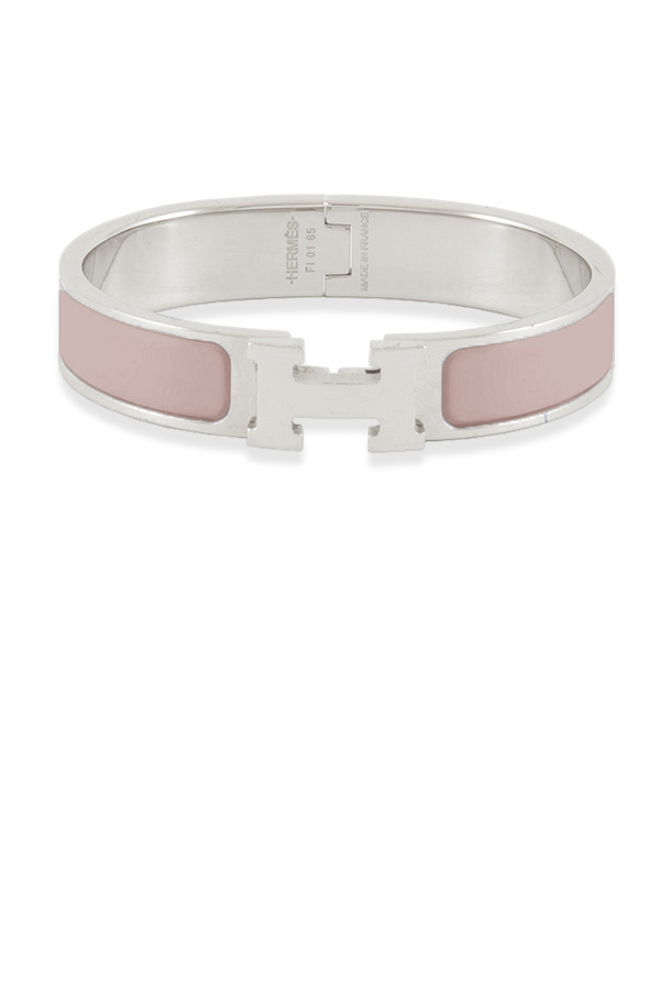 Hermes - Narrow Clic H Bracelet (Nude Pink/Palladium Plated) - PM