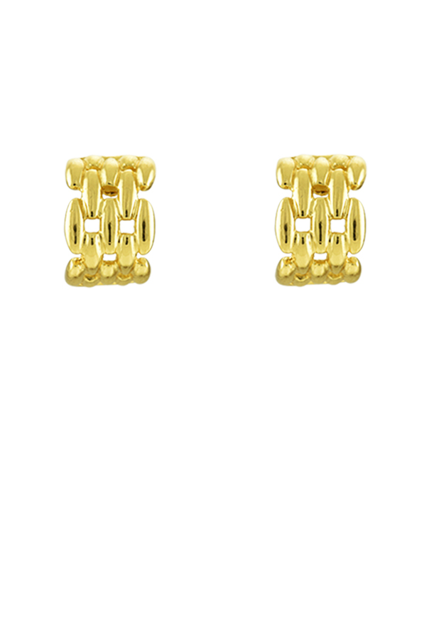Christian Dior - Wide Curved Chain Huggie Earrings