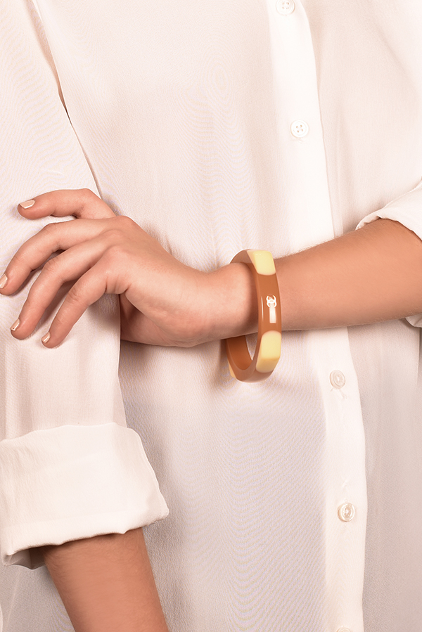 Chanel - Beige And Cream Resin CC Bangle