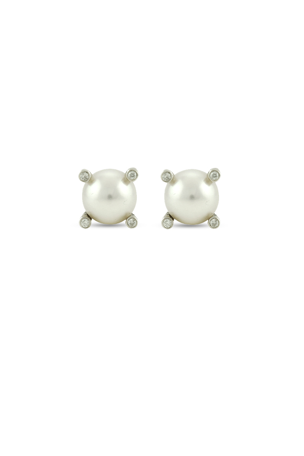 David Yurman - Mini Pearl Earrings With Diamonds