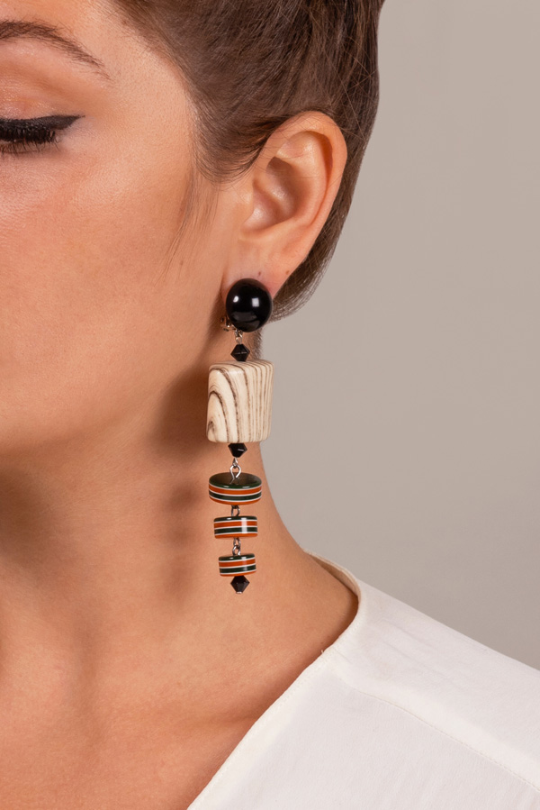 Angela Caputi - Wood Striped Resin Earrings
