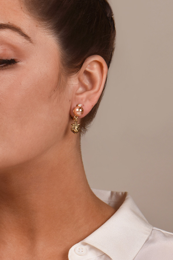Gucci - Feline Earrings With Faux Pearls  View 2