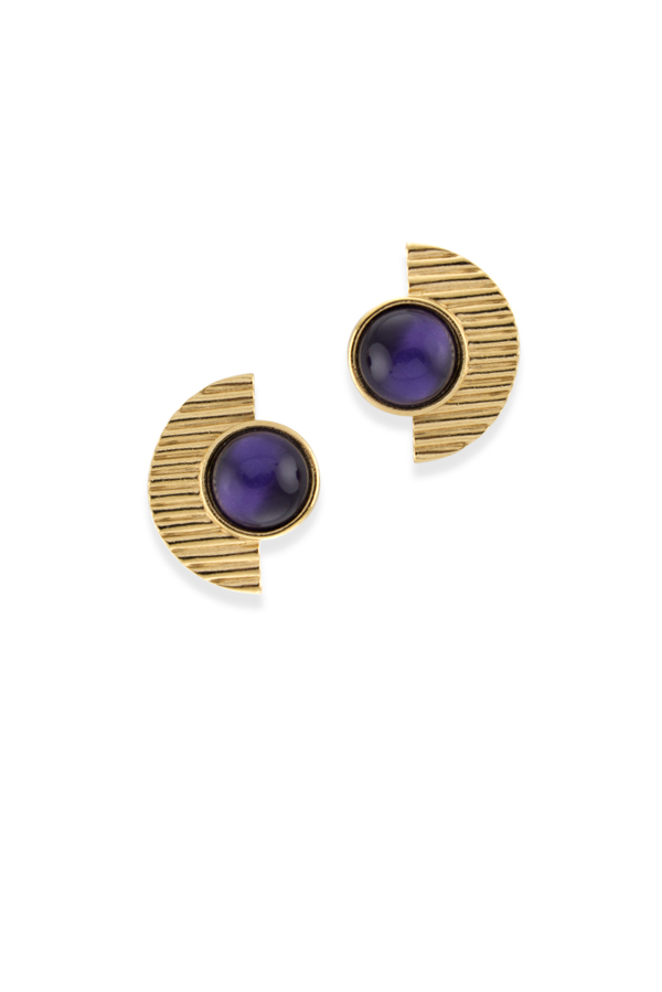 Yves Saint Laurent - Vintage Half Moon Purple Earrings