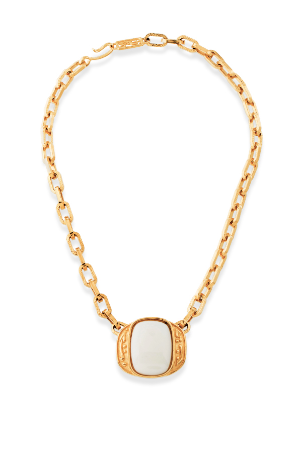 Yves Saint Laurent - Square White Resin Pendant Necklace